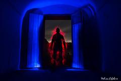 At the door ... (Meli's Eye) Tags: lightpaint lightart lightpainting light lightbrushes lights lumiere lumières luz españa espagne spain night nuit noche sombre dark blue bleu red photo photography photographie