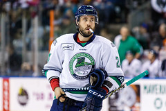 """Kansas City Mavericks vs. Florida Everblades, February 18, 2018, Silverstein Eye Centers Arena, Independence, Missouri.  Photo: © John Howe / Howe Creative Photography, all rights reserved 2018 • <a style=""""font-size:0.8em;"""" href=""""http://www.flickr.com/photos/134016632@N02/38577426660/"""" target=""""_blank"""">View on Flickr</a>"""
