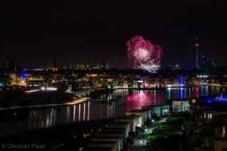 Dortmund Phönixsee Skyline Feuerwerk Winterleuchten 2018