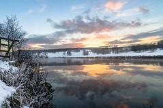Derwent river reflection (George David Edwards) Tags: landscape reflection sunset chatsworth snow peak district water mist winter