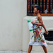 Woman Walking With Coffee Thermos, Cartagena Colombia