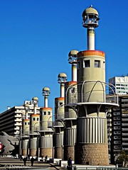 Park of the Industrial Spain of Barcelona (Domènec Ventosa) Tags: barcelona cataluña plaza fuentes torres parque edificios arquitectura monumentos sants catalonia square sources towers park buildings architecture monuments carretera edificio cielo torre