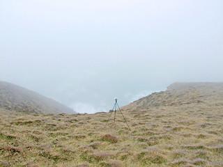 Recording sea on clifftop slope in sea mist, near Towanroath ruins