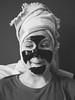 The Mask. (PeeterTomson) Tags: mask facemask girl black white bw fujifilm olympus 50mm portrait morning