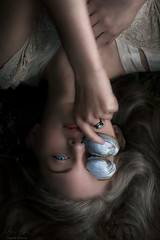Shell ({jessica drossin}) Tags: jessicadrossinphotography jessicadrossin portrait shell sea woman face hands ring blue hair wwwjessicadrossincom