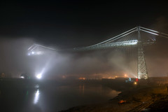 Fog on the Usk (Roger.C) Tags: newport southwales wales wfc transporterbridge bridge bridges night dark longexposure evening fog foggy weather clouds cloudy illuminated historic industrial industry nikon d610 tamron 2470 dramatic closed