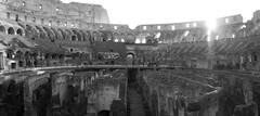Colosseum (ramosblancor) Tags: humanos humans arquitectura architecture historia history anfiteatro amphitheatre interior inside anfiteatroflavio flavianamphitheatre coliseo coliseum colosseum ciudades cities roma rome italia italy viajar travel panorama blancoynegro blackandwhite bw