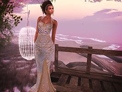 Quiet World (kare Karas) Tags: woman lady femme girl girly elegance beauty cute pretty outdoors natural nature pastel colors mesh jewelry septum gown hud event virtual avatar secondlife sensual feelings jumo chopzueyjewelry designershowcaseevent january