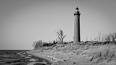 IMGP7781-Edit (Drew's Arcade) Tags: little sable point lighthouse light house michigan puremichigan bnw black white
