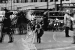 Reflections (d_t_vos) Tags: girl littlegirl window windows showwindow shopwindow obe dof oldehoofsterkerkhof square child playing coat singing shouting sing watch watching leeuwarden lân fan taal buildings cityhall expo exposition museum outside reflection reflections dickvos dtvos