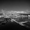 Clyde Quay Wharf (buddythunder) Tags: wellington newzealand harbour wharf sunshine wideangle cbd city downtown blackandwhite bw marina yachts pontoon concrete leadin reflection contrast