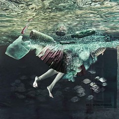 Diving into the future (Silvia Andreasi) Tags: water waterlevel garbage underwater skirt silviaandreasi imagesbeyondmirror feet legs levitation fish ruins colors vintage conceptualphotography contrast bubbles waves abandoned artphotography photomanipulation surreal fantasy dive dreamy dreamscape impressionism imagination imaginary digitalart inner squareformat whimsical whimsy storytelling herojourney reflection joke lake lagoon fineartphotography