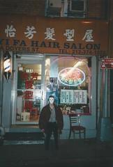 BUZZCUT (fakeversaci) Tags: barbershop nikonl35af 35mm film lupo veronica night contrast color dark model mask newyork chinatown