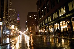 Driving passed the 16th Street mall in Denver Colorado (Anna Gurule) Tags: 16thstreetmall nightshots night rainy snowy snow city denver denvercolorado wet wetstreets nightlights nightreflections reflections citylights