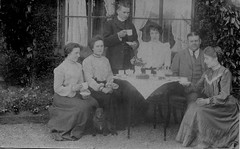 Edwardian Tea Party (vintage ladies) Tags: vintage portrait people edwardian man male female men woman women lady ladies tea teaparty teacup teapot dress dresses tie beauty beautiful pretty photograph photo portriat lovely cake dog family window house table sitting