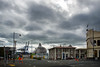 Looks Stormy (Jocey K) Tags: newzealand nikond750 southisland buildings otago portchalmers roadcones people clouds sky street historictown ships cranes signs cruiseships