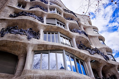 From below  ♪♫ (Fnikos) Tags: sky building architecture decor decoration column wall window balcony modernismo gaudí barcelona outdoor