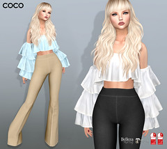COCO New Release @Fameshed (cocoro Lemon) Tags: coco newrelease fameshed mesh ruffle offtheshoulder flare pants secondlife fashion maitreya slink belleza
