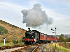 5199 approaching Carrog. (johncheckley) Tags: d90 uksteam locotank passenger train railway semaphore