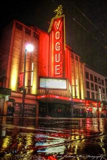 Vogue Theatre Neon Rainy NIght