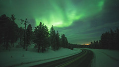 The E75 (AntiAtlas) Tags: auroraborealis aurora northernlights finland lapland road snow nightscape nightphotography stars astrophotography winter landscape