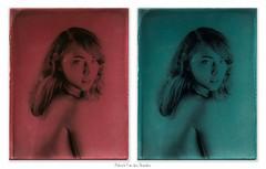 Alexandra in red & blue - Goniochromatype (patrickvandenbranden) Tags: alternativeprocess glassplate goniochromatype positive glass darkroomtechnique darkroom blackandwhite girl portrait beauty
