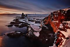 Lóndrangar (LalliSig) Tags: landscape sunset dusk iceland january winter snow ice cold lóndrangar seastacks cliffs red blue water ocean long exposure