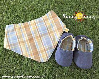 Kit Sapatinho Pantufa + Babador Bandana Jeans e Xadrez Azul