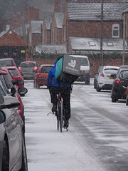 The foods gotta get thru (stevenbrandist) Tags: deliveroo bicycle deliver delivery loughborough leicestershire snow cold winter road