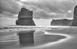 Great Ocean Road sea stack reflection mono