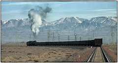 The Mountains of Heaven (Welsh Gold) Tags: tianshan mountains mountainsofheaven js8358 coal train nanzhan er jing colliery stonydesert sandaoling xinjaing province china