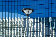 Street lamp and reflections (Jan van der Wolf) Tags: reflections windows streetlamp 15279