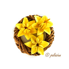 origami daffodil (polelena24) Tags: origami flower daffodil narcissus wreaf hexagon onesheet jonquil