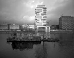 The Tower of Gentrification, Berlin (toninikkanen) Tags: berlin analog friedrichshain mamiya 7 fuji neopan acros 100 43mm