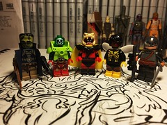 Finished Products on a WIP (Lord Allo) Tags: lego dc frankenstein agent shade metallo classic brother blood bumblebee ravager superman justice league dark teen titans