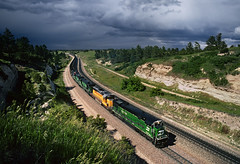 Thunder over Belmont (Moffat Road) Tags: burlingtonnorthernsantafe bnsf coaltrain bnsfbuttesub crawfordhill belmont nebraska ge c307 burlingtonnorthern bn 5054 whiteface locomotive thunderstorm ne