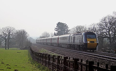 43321 - Lickey bank (Andrew Edkins) Tags: lickeybank hsts class43 43321 powercar crosscountry railwayphotography pikespoollane travel trip passengerservice trees sun glare fence geotagged canon haze worcestershire england uk incline field light