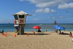 Relaxing Waikiki Beach (trailwalker52) Tags: hawaii oahu waikiki lifeguard lifeguardtower sailboat waikikisailboat relaxing peaceful calm sunbathe sunbathing tanning beach water waikikibeach