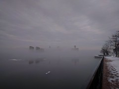 Fog Filled Border - 01 (Sofeha) Tags: detroit detroitcity detroitmichigan windsor ambassador bridge bordercity motorcity fog foggy water foggywater river riverwalk