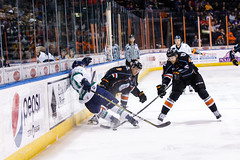 """Kansas City Mavericks vs. Florida Everblades, February 18, 2018, Silverstein Eye Centers Arena, Independence, Missouri.  Photo: © John Howe / Howe Creative Photography, all rights reserved 2018 • <a style=""""font-size:0.8em;"""" href=""""http://www.flickr.com/photos/134016632@N02/39491161195/"""" target=""""_blank"""">View on Flickr</a>"""