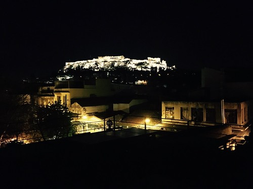 Rooftop veiw of Cafe Avissinia near Monastiraki Square, Athens, Greece