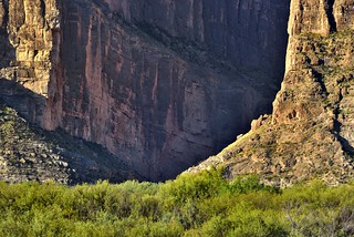Zoomed in to Show Just a Hint of Immense Cliff Walls (Big Bend National Park)
