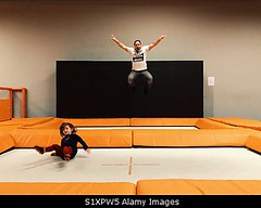 Photo accepted by Stockimo (vanya.bovajo) Tags: stockimo iphonegraphy iphone father daughter jumping trampoline jump man family park time fun funny indoor happy caucasian people men children girl child childrens parent