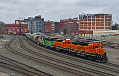 "Northbound Transfer in Kansas City, MO (""Righteous"" Grant G.) Tags: bnsf railway railroad locomotive emd power train trains north northbound transfer freight local kansas city missouri bn atsf prlx santa fe"