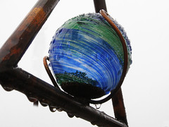 A Splash of Colour:  21/365 (amandabhslater) Tags: glass ball colour blue green raindrop snow garden triangle copper ornament 2018photographicdiary