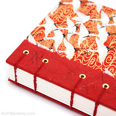Red Crane Japanese Paper Journal with Unlined Pages handmade by Ruth Bleakley - 5 (MissRuth) Tags: chiyogami handmadejournal unlinedjournal ruthbleakley bookart handmadebook handbound chiyogamijournal cranesjournal redjournal blankbook bookartist bookbinding