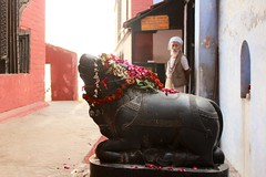 India, 2016 (Nikolai Morozov) Tags: india trip varanasi indian ganga ghat old man bull gaṅgā ganges temple attendant