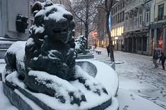 Vinave d'île (Liège 2018) (LiveFromLiege) Tags: liège belgium belgique liege wallonie statue lions lion fontainedelavierge vinavedîle vinavedile neige snow luik architecture lüttich liegi lieja europe city visitezliège visitliege urban belgien belgie belgio リエージュ льеж