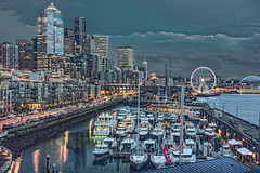 A SEATTLE WINTER NIGHT (LOURENḉO Photography) Tags: seattle art night beautiful pacific pnw pacificnorthwest washington photo bell bellharbor seattleboatshow boat yatch downtown color colorfull beach stadium highrise columbiatower lights ferriswheel ferris elliott elliottbay fourseasons winter summer spring fall show blue light canon usa