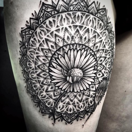 Ayrton sickbird tattoo daisy mandala